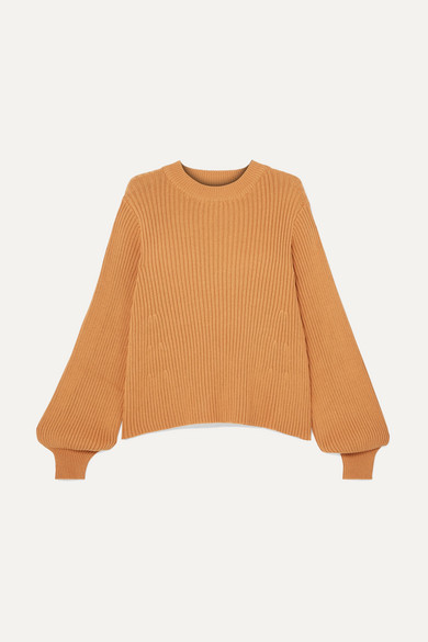 LF MARKEY Benji Ribbed Cotton Sweater in Camel