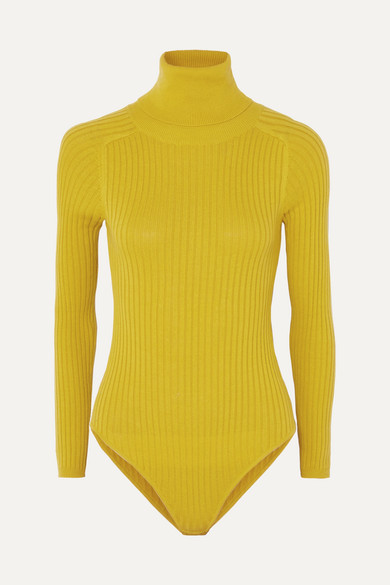LF MARKEY Axel Ribbed Stretch-Cotton Jersey Turtleneck Bodysuit in Mustard