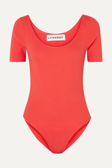 LF MARKEY Connor Ribbed Stretch Cotton-Blend Jersey Bodysuit in Red