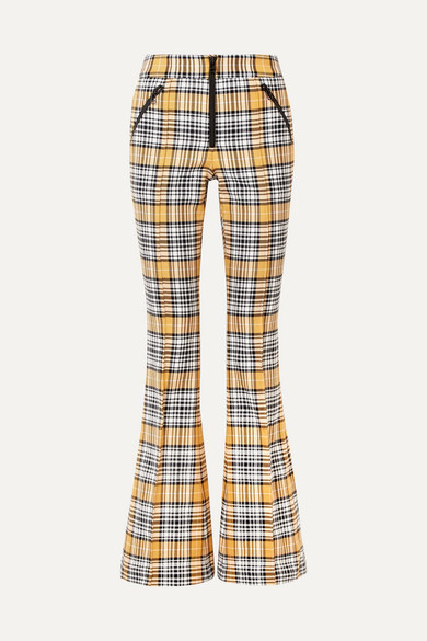 Fraser Checked Cotton-Blend Flared Pants in Yellow