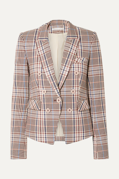 VERONICA BEARD | Veronica Beard - Diego Dickey Double-breasted Houndstooth Cotton-blend Blazer - Multi | Goxip