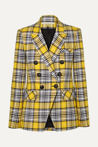 VERONICA BEARD | Veronica Beard - Miller Dickey Checked Cotton-blend Blazer - Yellow | Goxip
