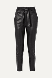 Faxon belted leather slim-leg pants