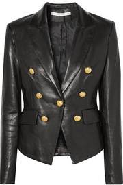 Cooke double-breasted leather blazer