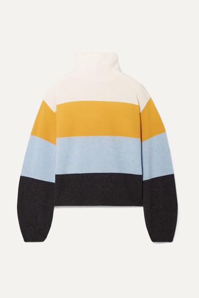 Faber Oversized Striped Cashmere Turtleneck Sweater in Saffron