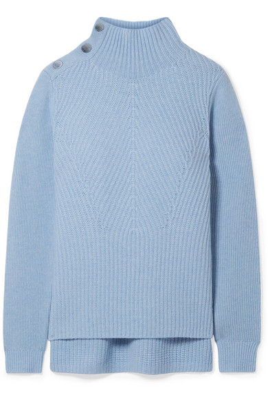 Rama Ribbed Merino Wool And Cashmere-Blend Turtleneck Sweater in Sky Blue