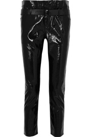 RtA Alastair belted patent-leather slim-leg pants