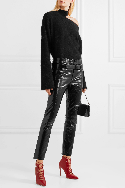 RtA Alastair belted patent-leather slim-leg pants
