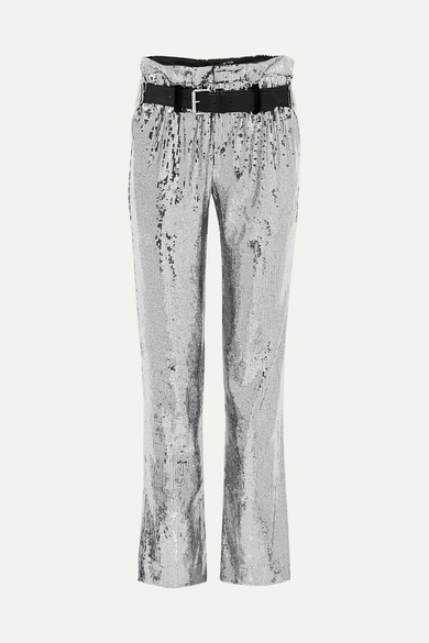 RTA DILLON BELTED SEQUINED SATIN PANTS