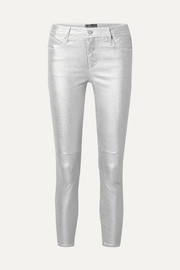 Prince metallic mid-rise stretch skinny jeans