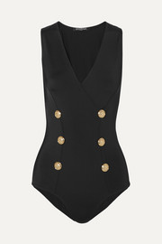 Button-embellished stretch-jersey bodysuit