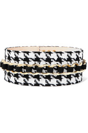 Chain-embellished houndstooth tweed and suede waist belt