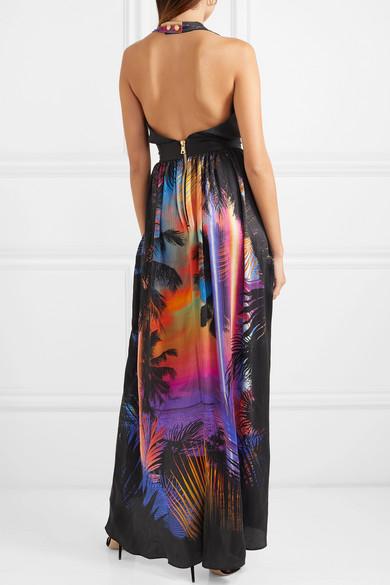 Balmain Dress Printed plissé-silk halterneck maxi dress
