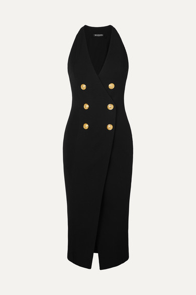 Balmain Dress Button-embellished stretch-knit midi dress