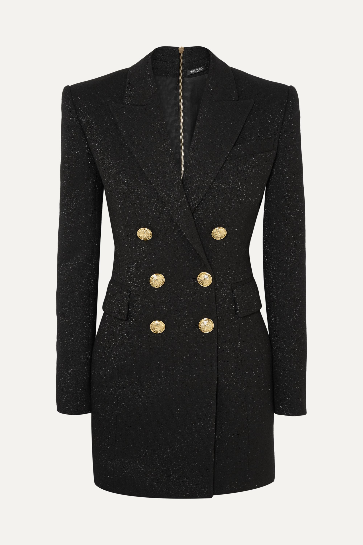 Balmain Button-embellished metallic wool-blend mini dress