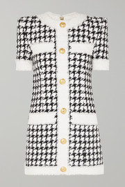 Balmain Button-embellished houndstooth tweed mini dress