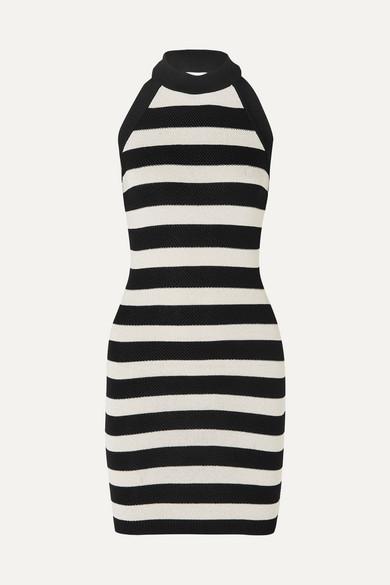 Balmain Dress Striped stretch-knit halterneck mini dress