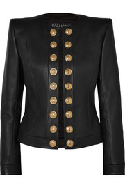 Balmain Button-embellished collarless leather blazer