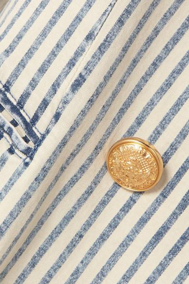 Balmain Blazers Double-breasted striped stretch-denim blazer