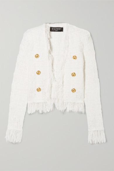 Fringed Tweed Collarless Jacket - White Size 40 Fr in Ivory