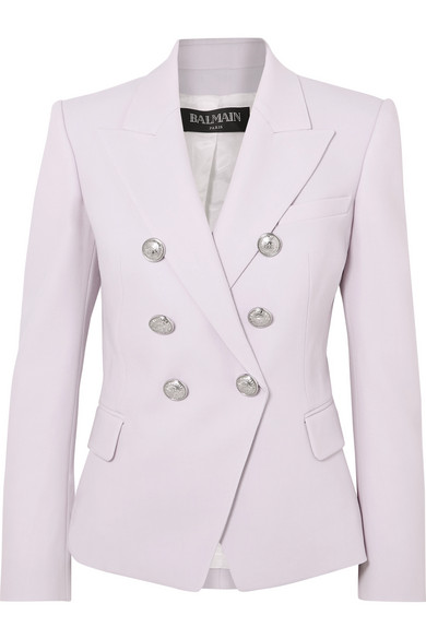 Balmain Double-Breasted Button Classic Blazer, Lilac