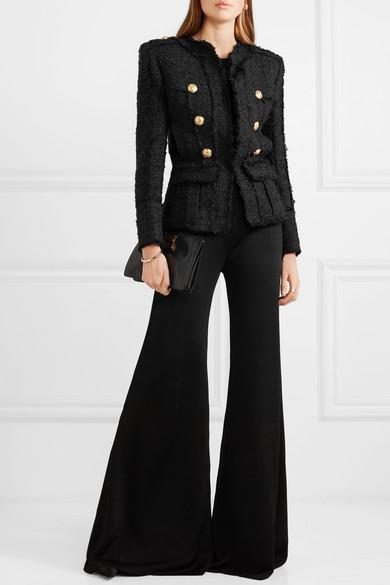 Balmain Blazers Double-breasted frayed metallic tweed blazer