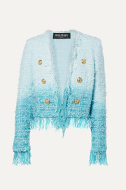 Balmain Fringed ombré tweed jacket