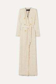 Balmain Button-embellished frayed tweed coat