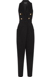 Button-embellished stretch-knit jumpsuit