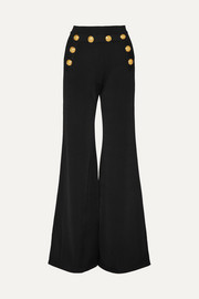 Button-embellished stretch-knit flared pants