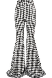 Balmain Houndstooth cotton-blend tweed flared pants