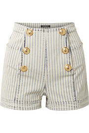 Balmain Button-embellished striped denim shorts