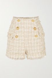 Balmain Button-embellished tweed shorts