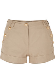 Button-embellished cotton and linen-blend shorts