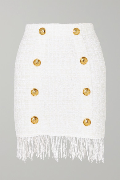 Button-Embellished Fringed Bouclé Mini Skirt in White