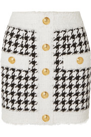 Balmain Button-embellished houndstooth tweed mini skirt