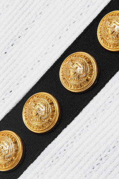 Balmain Knits Button-detailed ribbed stretch-knit bodysuit