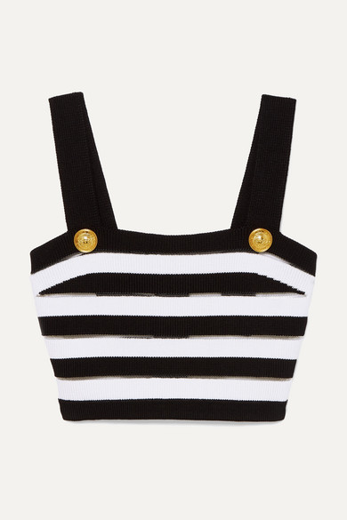 23cccdf691 Metallic Intarsia-trimmed Striped Stretch-knit Bralette. Cropped Striped  Ribbed Jersey Top. Balmain