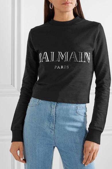 Balmain Shirts Cropped appliquéd cotton-jersey sweatshirt