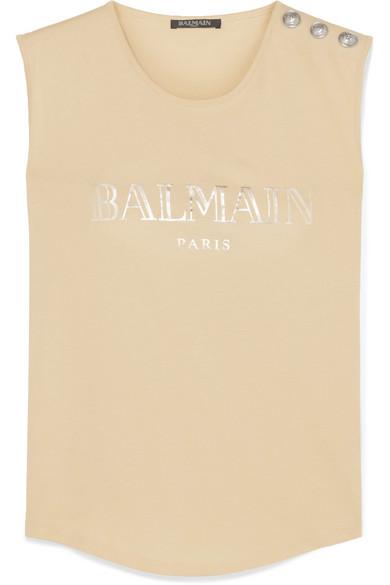 Balmain Tops Button-embellished printed cotton-jersey tank