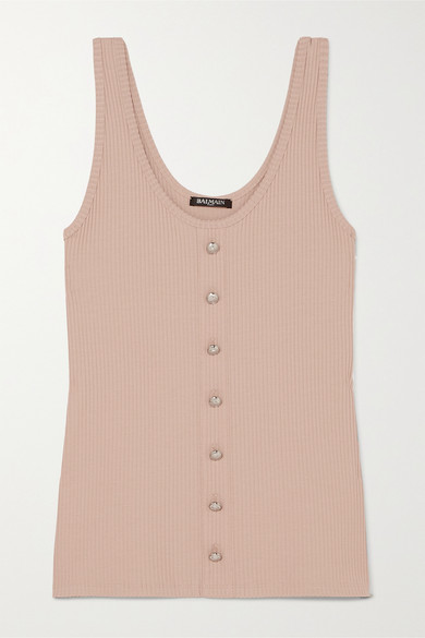 Balmain Tops Button-embellished ribbed stretch-jersey tank