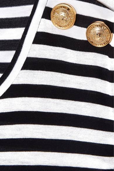 Balmain Shirts Button-embellished striped jersey T-shirt