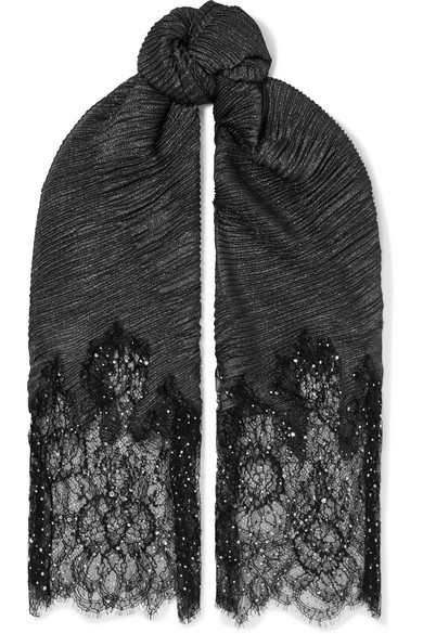 Valentino - Valentino Garavani embellished lace and metallic plissé modal-blend scarf