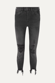 W3 Straight Authentic Crop distressed high-rise straight-leg jeans