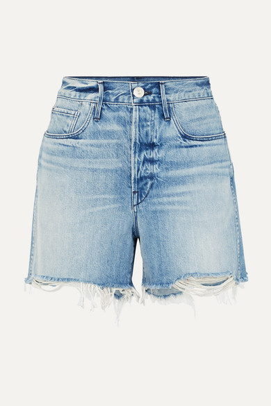 Blake Distressed Denim Shorts in Mid Denim