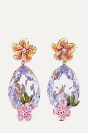 Gold-tone, enamel and crystal clip earrings