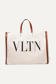 Valentino Valentino Garavani Plage large leather-trimmed printed canvas tote