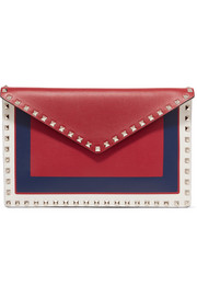 Valentino Garavani The Rockstud large color-block leather pouch