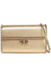 Valentino Garavani The Rockstud No Limit metallic textured-leather shoulder bag