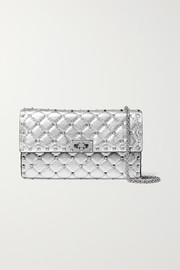 Valentino Garavani The Rockstud Spike quilted metallic textured-leather shoulder bag